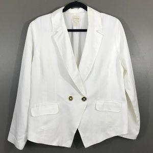 Chico's White One Button Fully Blazer Size 2